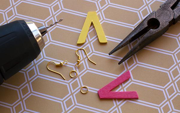 Chevron-Letter-Earring